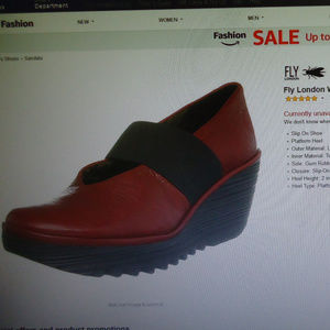 Fly London Red Leather Yale Wedges 40